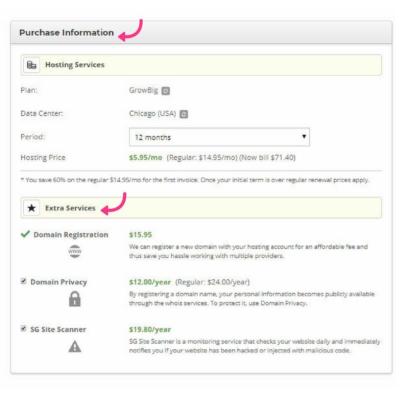 siteground start a blog payment