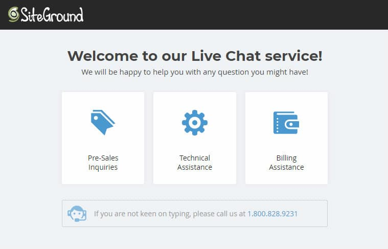 siteground start a blog live chat
