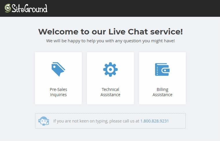 siteground start a blog live chat