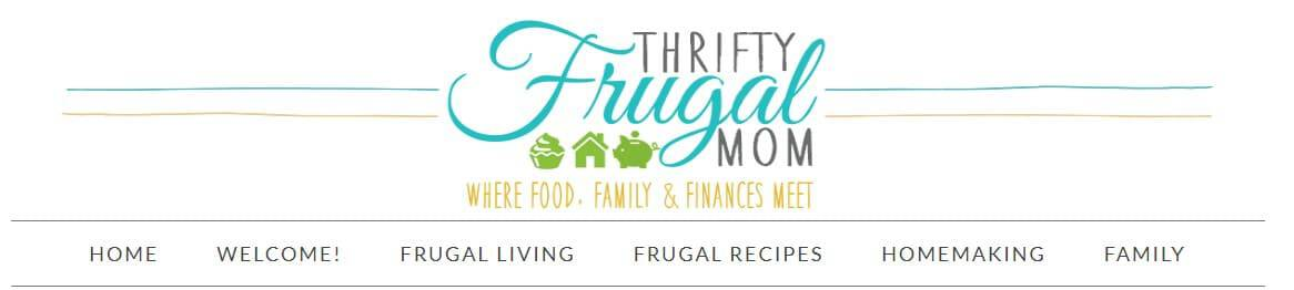 thrifty frugal mom blog header