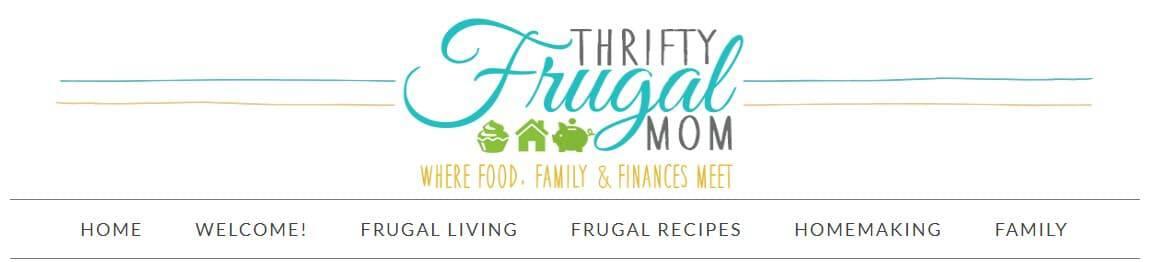 thrifty frugal mom blog header