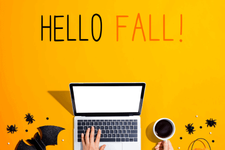 hello fall with a laptop