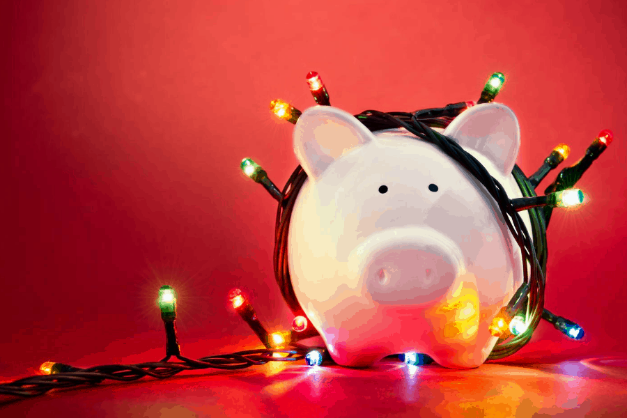 piggy bank with christmas lights