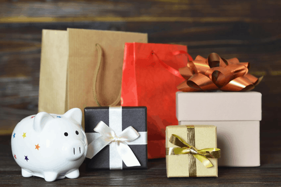 piggy bank and christmas gifts