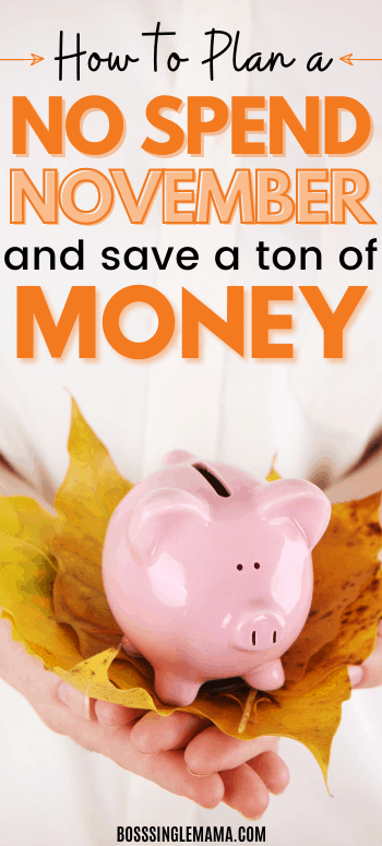 Piggy bank with fall leaves