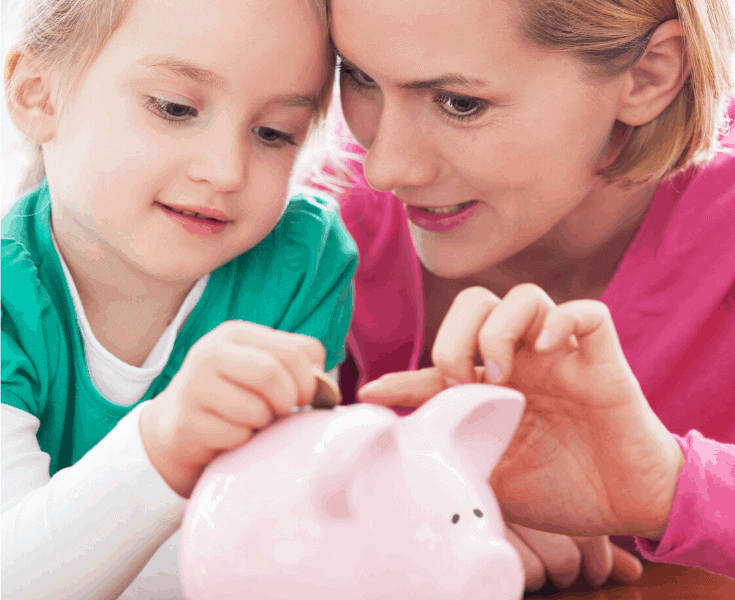mom and child piggy bank