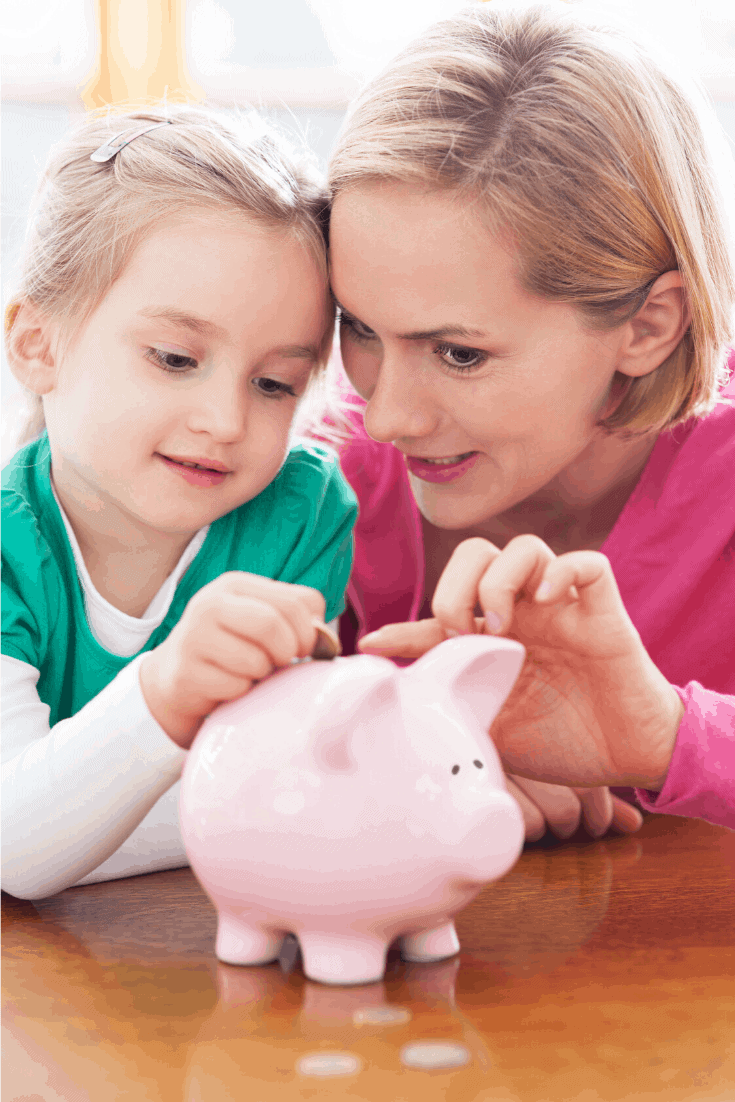 mom and child piggy bank