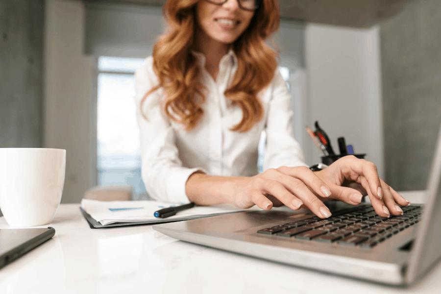 woman creating printables to sell