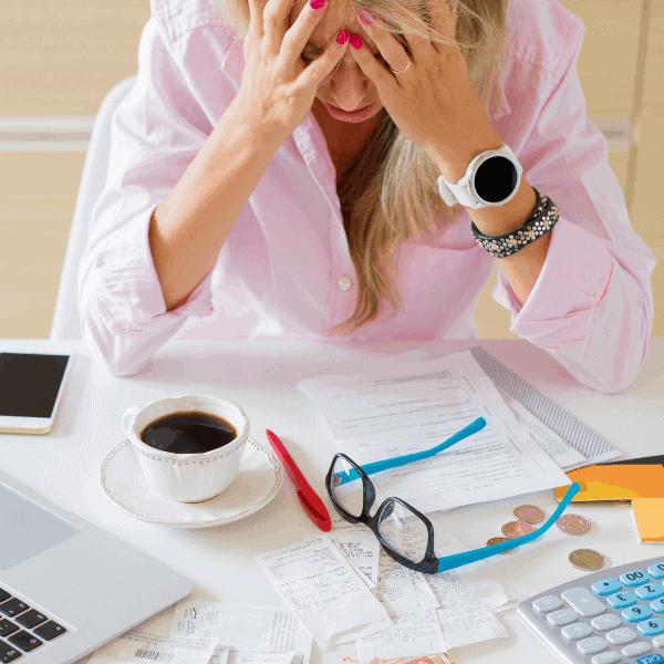 woman stressing over bills