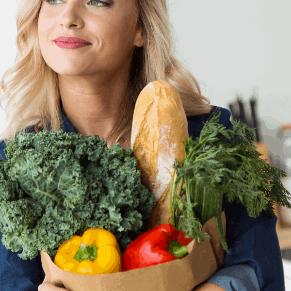 woman holding groceries