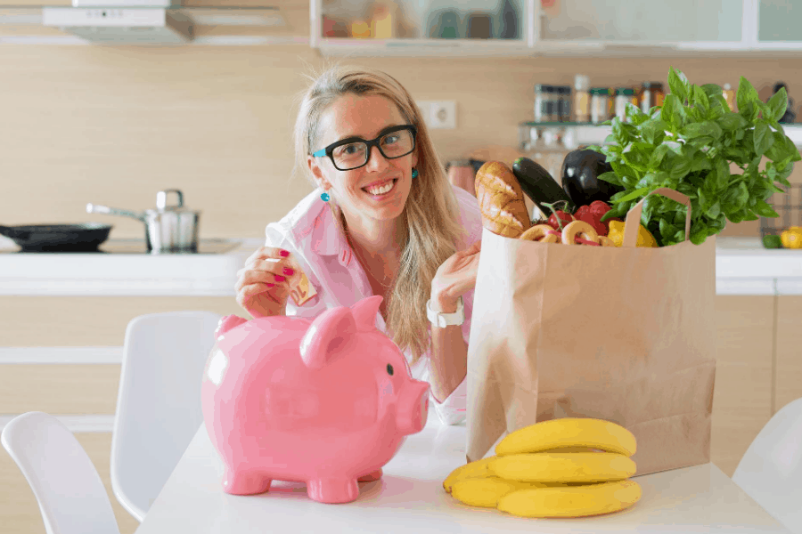 woman saving money on groceries