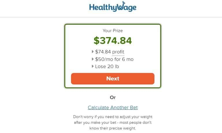 healthywage weight loss wager